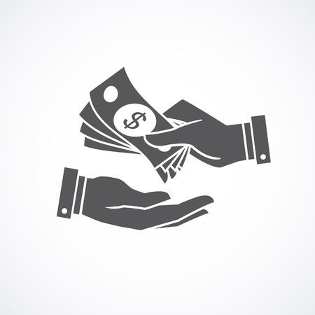 beggar's: Receiving money banknotes stack icon. illustration. Illustration