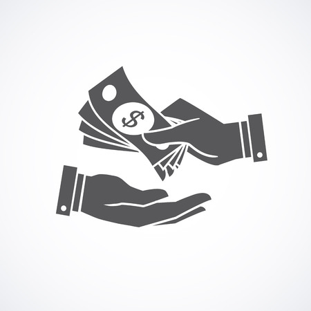Receiving money banknotes stack icon. illustration. Illustration