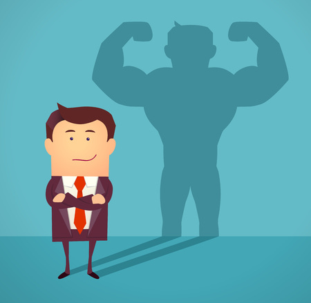 man shadow: Businessman casting strong man shadow. Successful businessman concept. illustration.