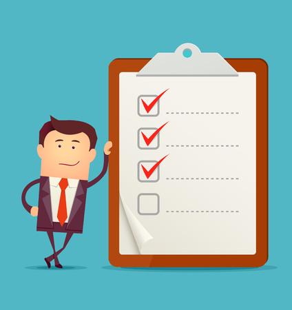 writing pad: Businessman with clipboard and checklist illustration