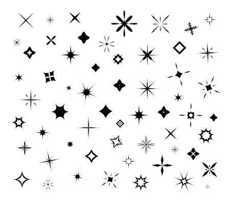 Black sparkles, glowing light effect stars and bursts  set. Bright firework, decoration twinkle, shiny flash vecor illustration
