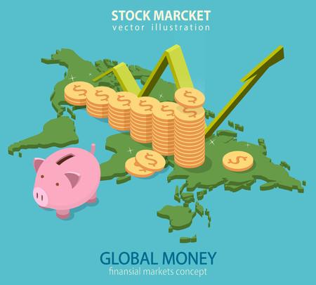 banco mundial: auditoría empresarial, análisis financieros, estadísticas concepto isométrica plana. mapa del mundo gráfico en el fondo con la torre de dinero y una hucha.