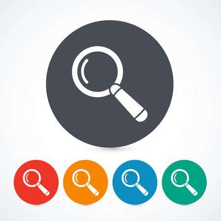 inquire: Magnify glass icons isolated on with background. Circle buttons. 5 different colors. Illustration