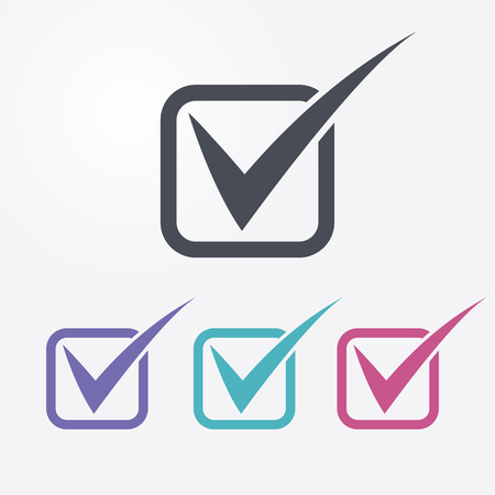 check mark icons. Check list symbols. 4 different colors. Vectores