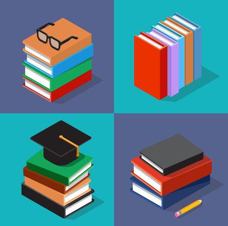 conjunto isométrico de libros. Colección de libros de diferentes colores y diseñados - libro de pie, libros en el lateral, montones de libros.