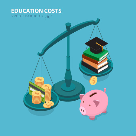 cost of education: Education costs flat isometric concept. College education pricing and cost analyzing.