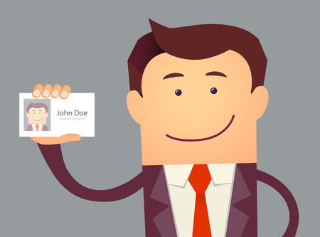 Illustration of businessman holding blank id card in flat style. Vector illustration Illustration