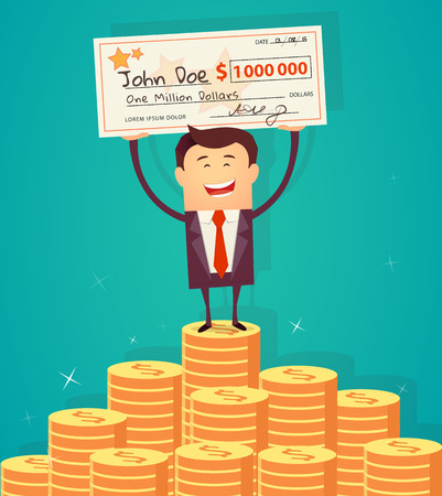 lucky man: Man holding winning check for one million dollars and standing on the huge money staircase. Lottery and rich, lucky smile, cheque and money. Vector illustration Illustration
