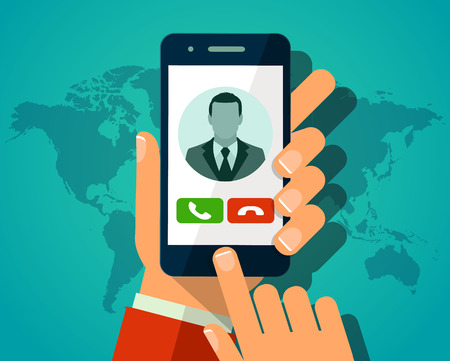 smartphone in hand: Vector concept incoming call on smartphone. Hand holding smartphone with man avatar on screen. Web infographics flat style Illustration