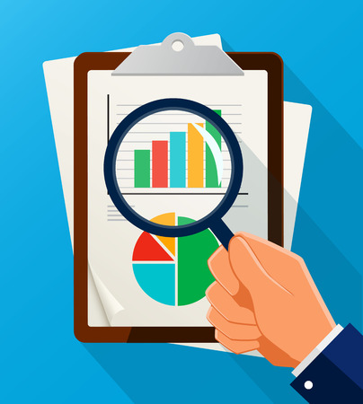 Business Analysis symbol with magnifying glass icon and chart. Eps10 vector illustration