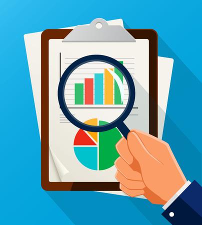 Symbole d'analyse d'affaires avec l'icône en forme de loupe et graphique. Illustration vectorielle EPS10