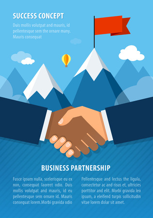 hands shaking: Businessman hands shaking together for agreement success. Landscape with flag on the mountain. Success concept illustration. Vector illustration