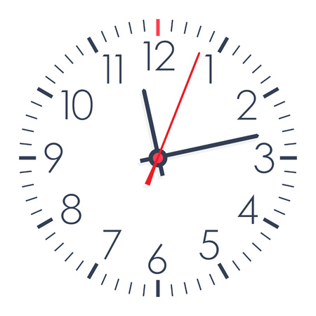 Vector simple office clock on white background.