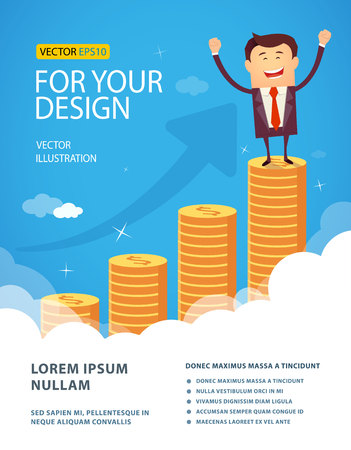 huge: Successful happy business man standing on huge growth money stairs in sky. Success financial rich concept. Business concept cartoon vector illustration. Flat style