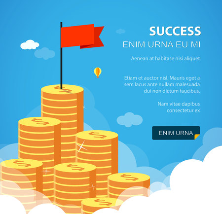 huge: Huge growth money stairs in sky with flag. Success financial rich concept. Business concept vector illustration. Flat style