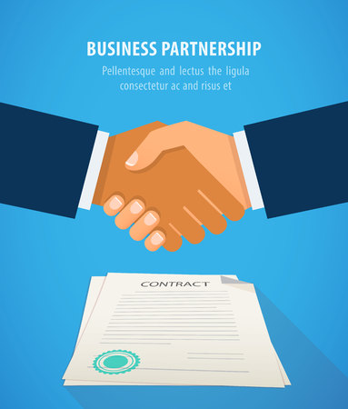 treaty: Handshake of business people on the background of the contract. Signing of a treaty business contract, flat design vector illustration. Agreement.