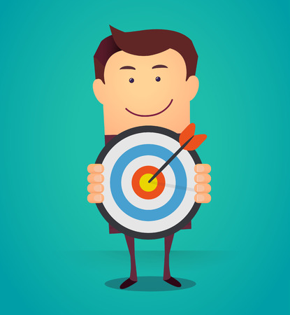 Cartoon business man holding a dart board with a direct hit on target. Concept of personal coaching success. Vector illustration