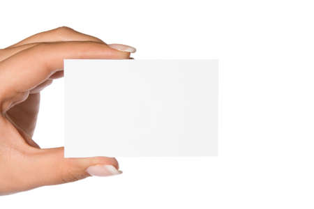 femal: femal hand holding blank business card Stock Photo