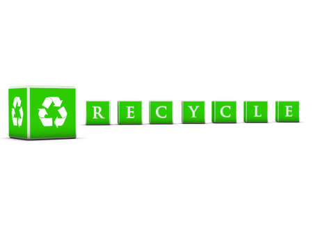 3d rendered green cubes with recycle lettes Stock Photo - 3483165