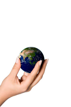3d rendered world in a female hand focus on asia Stock Photo - 3481831
