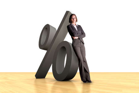 Woman leaning on a percent symbol with wooden ground Stock Photo - 3545471