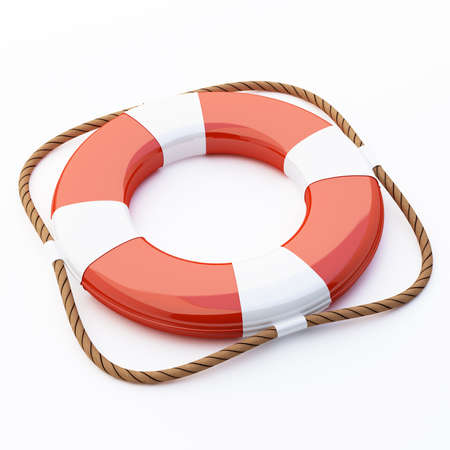 flotation: 3D Life saver on white background with rope