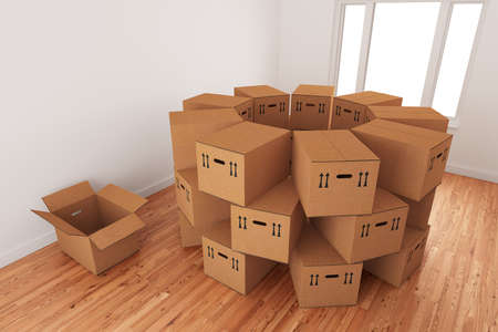 relocate: Arrangement of empty cardboard packing boxes standing on a wooden floor in a room interior.