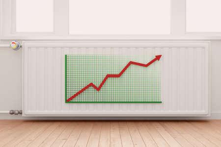 convection: Crescente Grafico freccia sul radiatore riscaldamento concettuale di aumento dei costi di energia. Archivio Fotografico