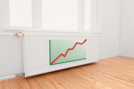 convective: Ascending Arrow Graph on central heating radiator conceptual of increasing costs of energy.