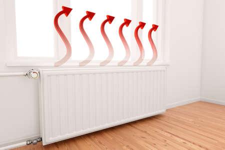 radiador: Ascendente Gr�fico Flecha en el centro conceptual de radiadores de calefacci�n de los crecientes costos de energ�a.