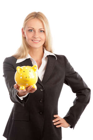 financial advisor: Blond woman and a yellow piggy bank