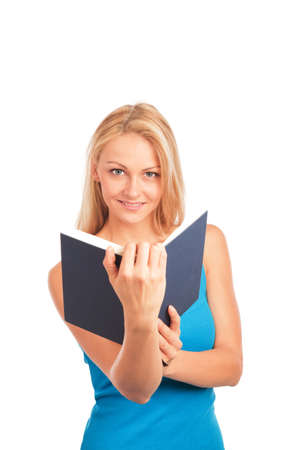 lowers: Blond woman with glasses reading a book