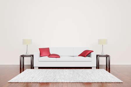 divano: Off divano bianco con cuscini rossi a vuoto interni neutri con pavimenti in legno.