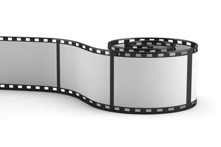 photography themes: 3D rolled out film strip on white background