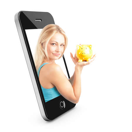 Smart phone Concept with beautiful blonde woman reaching out of the phone interface with piggy bank photo
