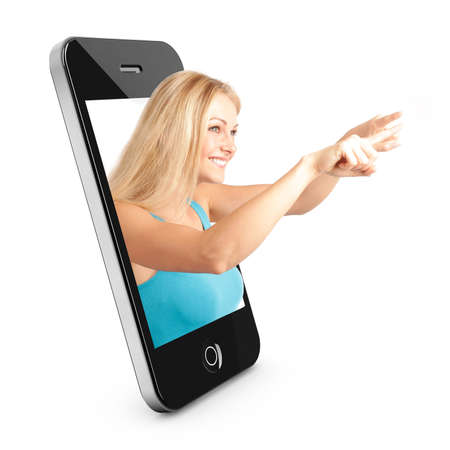 tele: Smart phone Concept with beautiful blonde woman reaching out of the phone interface