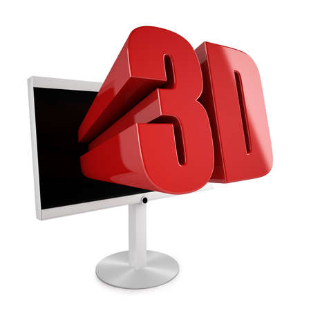 3 d illustrations: Flatscreen TV with 3D stereocopic feature and 3D logo reaching out