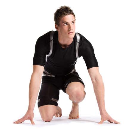 barefoot: Atletas en el inicio aisladas sobre fondo blanco