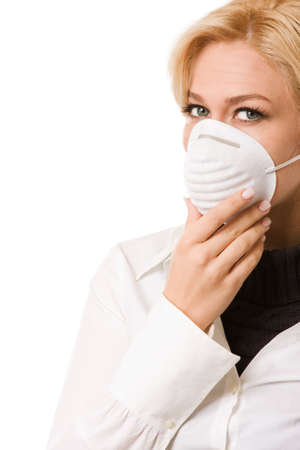 airborne: Woman with mask isolated on white background Stock Photo