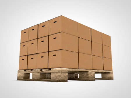 Cardboard with stacked boxes on wooden pallet photo