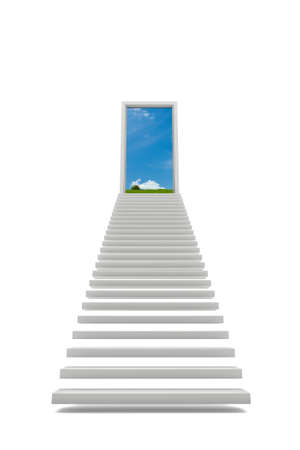 freestanding: Steps to the sky isolated on white with blue sky Stock Photo