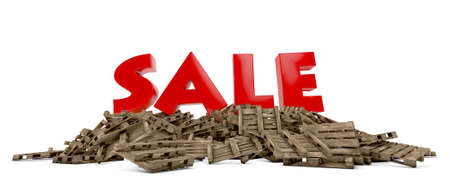 movable: The word sale on pallets with white background