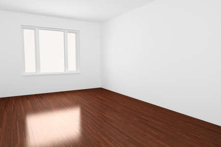 Empty Room with window and wooden floor photo