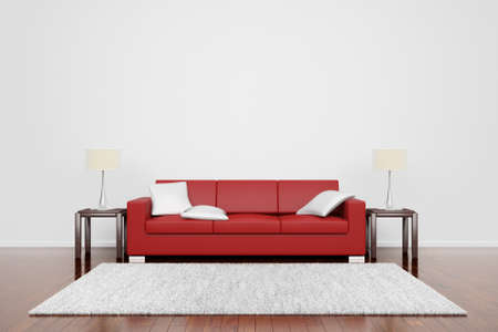 carpet flooring: Red couch on wooden floor with white cushions carpet and lamps Stock Photo