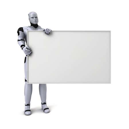 銀Android機器人拿著空白的跡象文字或廣告,3D,插圖,白色,