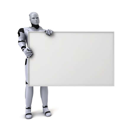 Silver android robot holding a blank sign for text or advertising, 3d illustration on white Stock Photo