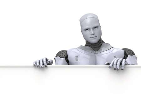 Argent Android Robot tenant un signe blanc pour du texte ou de la publicité, illustration 3d sur fond blanc