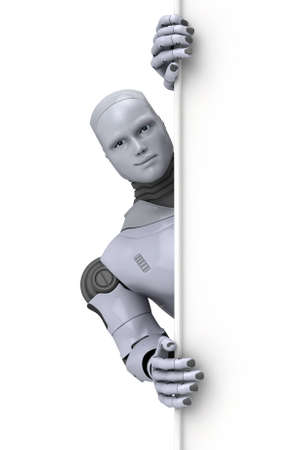 Silver android robot holding a blank sign for text or advertising, 3d illustration on white Stock Illustration - 12065682