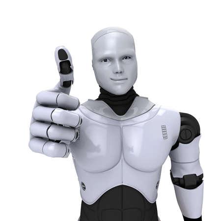 Plata robot androide con el pulgar arriba sonriendo 3d ilustración sobre fondo blanco
