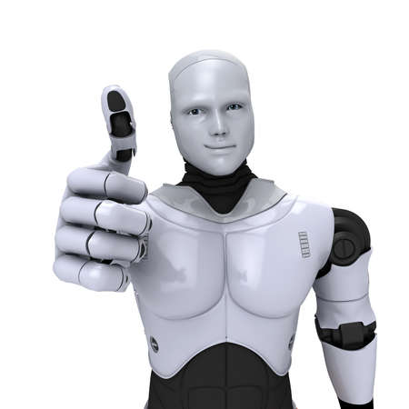 humanoid: Silver android robot with thumb up smiling 3d illustration on white Stock Photo